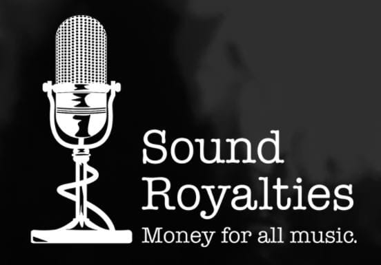 sound royalties logo with black background