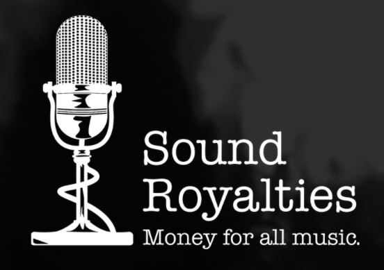 sound royalties logo with black background
