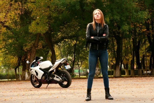 Biker Girl with Leather Jacket