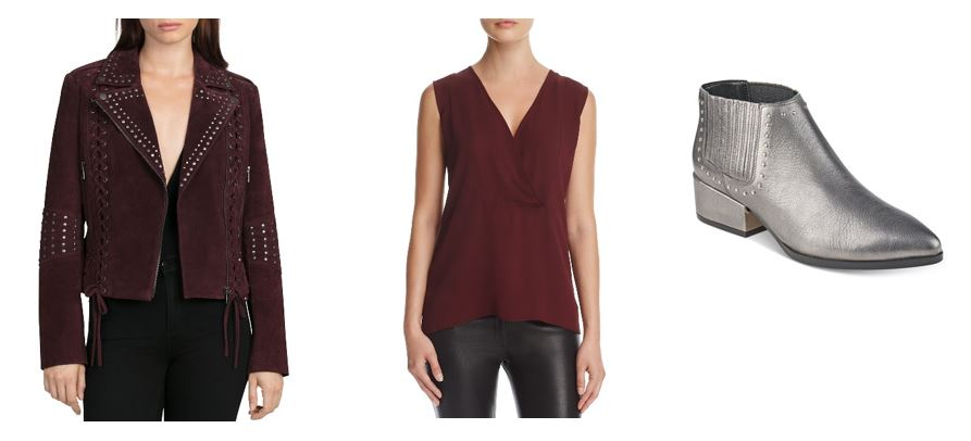 burgundy suede jacket burgundy blouse silver booties