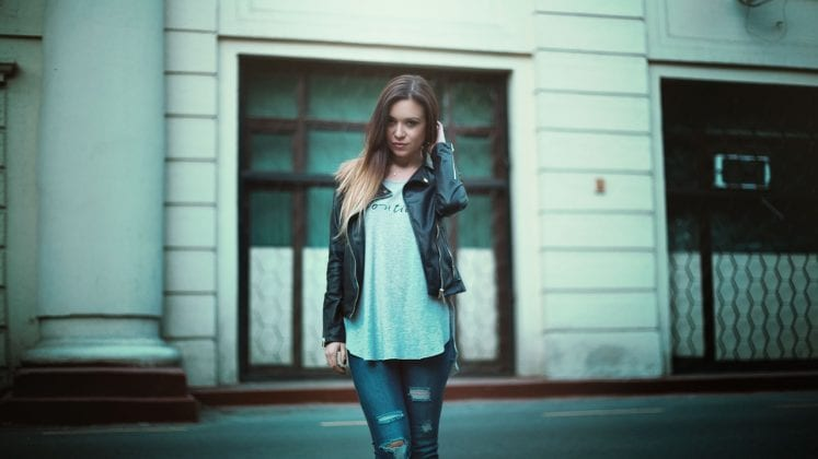 Girl in Leather Jacket and Jeans