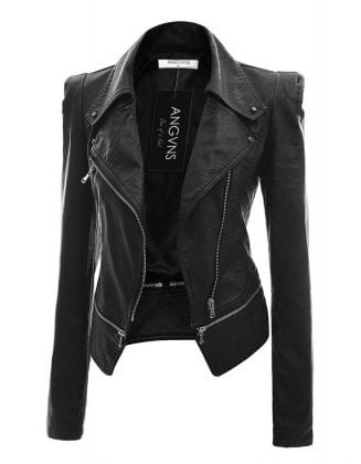 black leather jacket with pointed shoulders