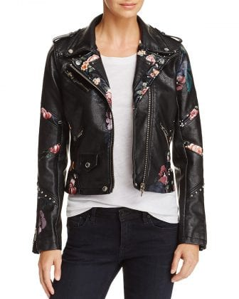 floral embellished leather jacket