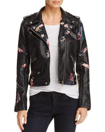 floral embellished leather jacket
