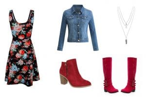 flower dress and red boot collage
