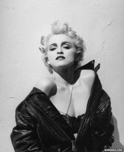 madonna leather jacket off the shoulder