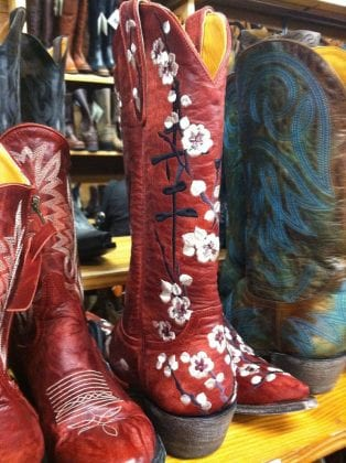 red cowboy boots with embroidery