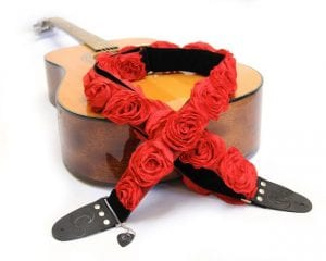 Capturing Couture GTR20-RDRS-Red-Organza-Guitar-Strap-on-guitar