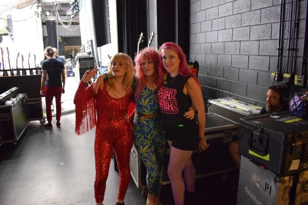 Sasha with Deap Vally backstage