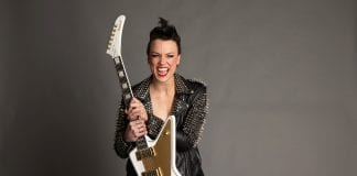 LZZY HALE of Halestorm with her new Ltd. Ed. Lzzy Hale Signature Explorer Outfit
