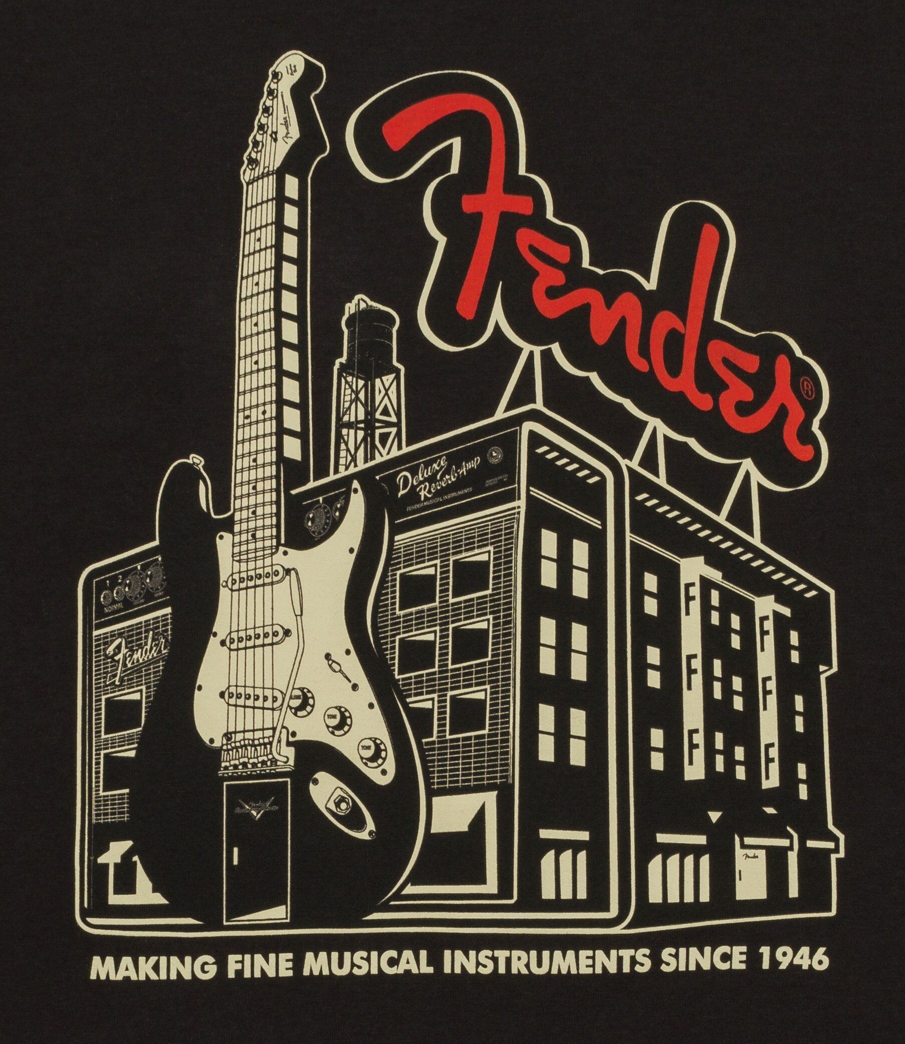 Genuine Fender Spaghetti Logo T-Shirt Black